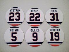 New York Islander Retired Jersey Magnets - Islanders Legends magnets - Bossy etc Mike Bossy, New York Islanders, Hockey, Magnets, Fan, Gifts, Favors, Hand Fan, Presents