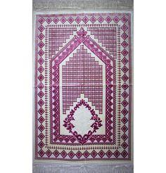 Velvet Amber Seccade Prayer Rug Diamond Tile Pink