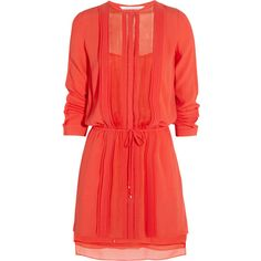 Diane von Furstenberg Pleated crepe dress (13.985 RUB) ❤ liked on Polyvore featuring dresses, diane von furstenberg, tomato red, crepe dress, tie dress, loose fitting dresses and elastic waist dress
