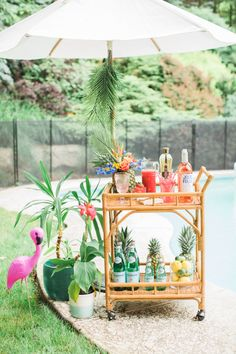 Take your Summer party to the next level of tropical cool with this Rosé unfused outdoor bash. Filled with flamingos, pineapples and palms plus a killer bar cart, it is destined to be a party to reme. Flamingo Party, Flamingo Birthday, Tiki Party, Luau Party, Party Drinks, Pineapple Pool Float, Deco Jungle, Tropical Bridal Showers, Bar Cart Decor