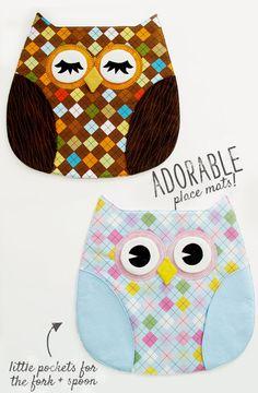 fabric sighting: owl place mats