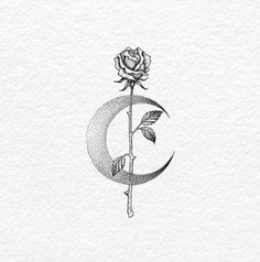 rose by the crescent moon for pitter a very personal customize tattoo design flash ink on 8333771060 tattoos for guys Mini Tattoos, Trendy Tattoos, Body Art Tattoos, Small Tattoos, Sleeve Tattoos, Cool Tattoos, Tatoos, Tattoos Friends, Quote Tattoos Girls