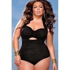 Women Beach Bathing Suit Swimsuit Sweetheart Neck Ruched One-piece Swimwear  Plus Size https://www.stylishntrendier.com