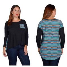"""Squiggle top (1x 2x) Squiggle top 1x: L: 26"""" (front) 33"""" (back) B: 46""""                               2x: L: 27"""" (front) 34"""" (back) B: 48"""" Materials: 95% polyester/3% spandex/2% nylon NWOT. Brand new without tags. High low style. Front pocket matches the pattern on the back of the shirt. Semi lightweight. Shirt has great stretch!                   Availability- 1x•2x • 2•2 PLEASE do not purchase this listing. Price is firm unless bundled. No trades Boutique Tops"""