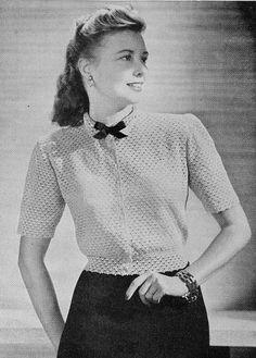 Vintage 1940s Lacy Crochet Blouse Pattern PDF 4701