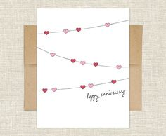 String of Hearts Anniversary Card