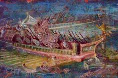 Roman galley depicted in a fresco recovered from Pompeii, 1st century BCE - 1st century CE.  Photographed by Mary Harrsch at the Archaeologico Nazionale  di Napoli in Naples, Italy.
