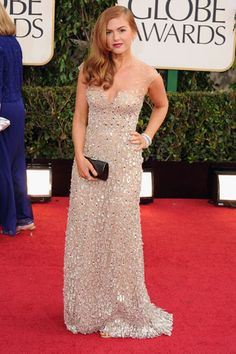 Isla Fisher is lovely in an embellished gown by Reem Acra.  Read more: Golden Globes Red Carpet 2013 - Pictures from 2013 Golden Globes Red Carpet - Harper's BAZAAR  Follow us: @Kerry Pieri on Twitter | HarpersBazaar on Facebook  Visit us at HarpersBAZAAR.com