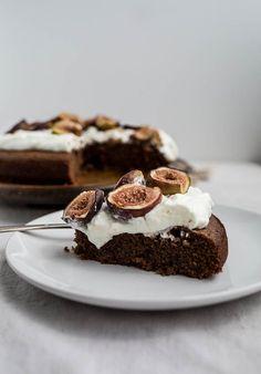 Chocolate-Almond Cake with Honey-Glazed Figs recipe (gluten-free, dairy-free)