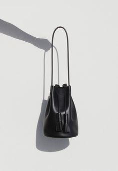 Black leather bucket bag, chic minimal handbag // Building Block