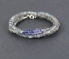Labradorite Iolite & Sterling Silver Wrap by EllaArtisanJewellery