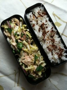 SE Asian Chicken and cabbage, jasmine rice with fried shallots #bento #obento #healthylunch