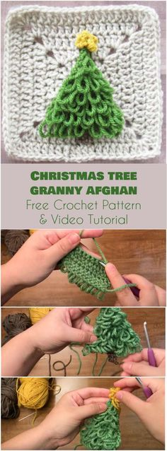 Christmas Tree Granny Afghan Square [Free Crochet Pattern and Video Tutorial] Christmas Tree Granny Square Free Pattern Granny Square Crochet Pattern, Crochet Stitches Patterns, Crochet Squares, Crochet Granny, Crochet Motif, Free Crochet, Granny Squares, Crochet Tree, Ravelry Crochet