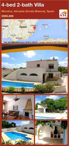 4-bed 2-bath Villa in Moraira, Alicante (Costa Blanca), Spain ►€265,000 #PropertyForSaleInSpain