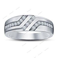 White Gold Finish 925 Silver Men's Lab Diamond Wedding Band Ring Size 7 to 14 #bacio2jewel #WeddingBand