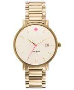 Diggin' the pink touches on this Kate Spade Gramercy Grand gold - tone watch!