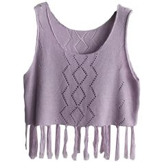 Purple Fringe Hollow Out Charming Womens Crochet Crop Top ($12) ❤ liked on Polyvore featuring tops, shirts, crop tops, blusas, macrame top, crochet crop top, crochet fringe top, fringe shirt and purple top