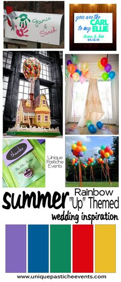 Up Rainbow Wedding Inspiraton Ideas Pixar Movie Unique Pastiche Events  #weddingdecor #weddinginspiration  #weddingideas   #summerwedding  #rainbow #themedwedding #weddingtheme #rainbow #colorful