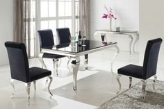 Dining set avalable at http://www.bluefishfurniture.co.uk/Louis-160cm-dining-table-4-velvet-chairs-rococo-chrome-set