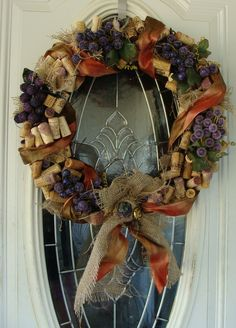 Wine Cork Beaded Grapes Burlap wreath