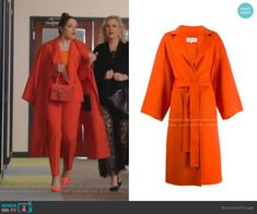 Belted Cloth Coat by Loewe worn by Fallon Carrington (Elizabeth Gillies) on Dynasty Tv Show Outfits, Stage Outfits, Orange Suit, Versace Jacket, Mode Kawaii, Fashion Tv, Latex Fashion, Character Inspired Outfits, Stylish Coat