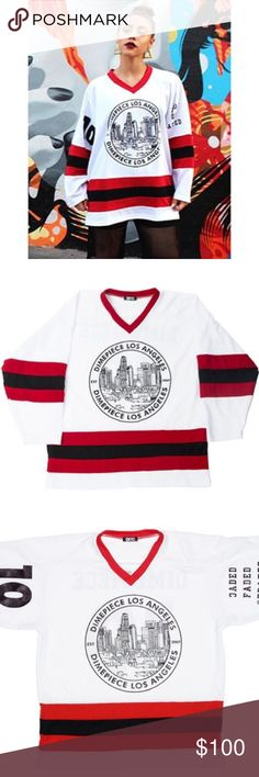 Dimepiece LA Emblem Hockey Jersey Oversized hockey jersey by celebrity favorite streetwear brand Dimepiece LA. As seen on Rihanna, Cara Delevigne, Kylie Jenner, Jourdan Dunn and Miley Cyrus. **LIMITED EDITION** SOLD OUT ONLINE!!! Tops Tees - Long Sleeve