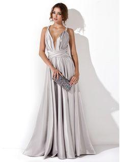 A-Linie/Princess-Linie V-Ausschnitt Bodenlang Charmeuse Abendkleid mit Rüschen