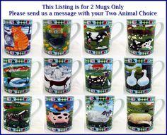 Funny Animals Farm Mugs Set of 2 Porcelain Cute Scenes Mugs Hand Made in the UK #RainbowDecorsLtd #Contemporary