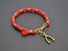 coral red cotton braid bracelet $14 @Etsy! #handmade