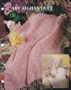 Baby Afghan Duet,  Annie's Crochet Quilt & Afghan Club Pattern Leaflet QAC334-04