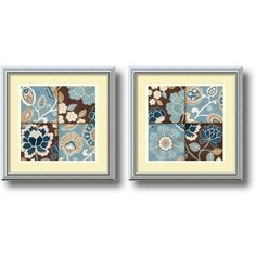 ''Patchwork Motif'' 2-Piece Framed Art Print Set by Alain Pelletier ($192) ❤ liked on Polyvore featuring home, home decor, wall art, other clrs, horizontal wall art, vertical wall art, framed wall art, floral home decor and framed floral wall art