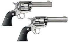 Dual Ruger Vaquero .45's. Polished stainless steel, with black mother-of-pearl grips...BEAUTIFUL!