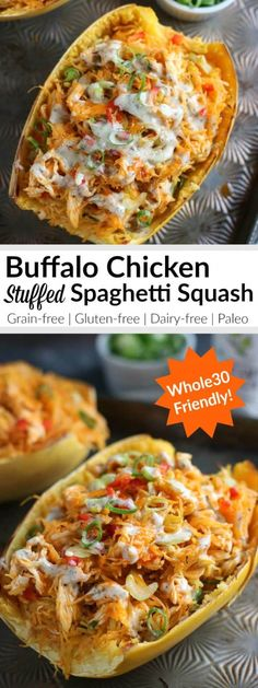 Buffalo Chicken Stuffed Spaghetti Squash Healthy Spaghetti Squash Recipes Dinner Recipe Gluten-Free Dinner Recipe Dairy-Free Dinner Paleo Dinner Easy Dinner Recipe The Real Food Dietitians Whole30 Dinner Recipes, Gluten Free Recipes For Dinner, Dairy Free Recipes, Paleo Recipes, Real Food Recipes, Paleo Food, New Recipes For Dinner, Healthy Food, Lunch Recipes