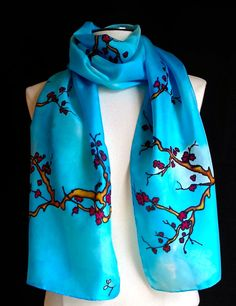 Hand painted silk scarf delicate cherry by FantasticPheasant, $40.00