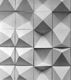 ROBERT DICK  CONVEX AND CONCAVE TILES, 1960s - not sure how to apply this, but interesting b/c reconfigurable, kind of shows making, and uses shadow