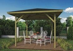 Corner Log Cabins, Modern Gazebo, Pressure Treated Timber, Garden Gazebo, Double Glazed Window, Garden Types, Wooden Pergola, Flat Roof, Canopy