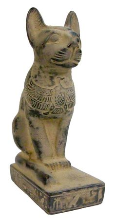 Sadigh Gallery's Ancient Egyptian Limestone Cat Statue - Carved black limestone seated cat with the image of an eagle on the chest, hieroglyphs on the base. Egyptian Cats, Ancient Egyptian Art, Ancient Aliens, Ancient History, Art History, Statues, Cat Statue, Ancient Artifacts, Ancient Civilizations