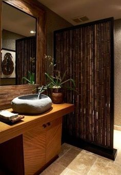 Bathroom Design, Tremendous Tropical Bathroom Style With Admirable Bamboo Bathroom Vanity With Unique Vessel Stone Sink Design With Unique F. Asian Bathroom, Bamboo Bathroom, Bamboo Wall, Bathroom Spa, Bathroom Interior, Bamboo Fence, Bathroom Ideas, Bathroom Designs, Bamboo Poles