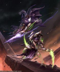 StarCraft 2 Dark Templars  http://samwisedidier.deviantart.com/art/Starcraft-When-Darkness-and-Shadow-Collide-450384660