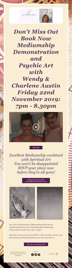 Don't Miss Out Book Now Mediumship Demonstration and Psychic Art with Wendy & Charlene Austin Friday November - November 2019, Rsvp, Spirituality, Friday, Events, Books, Art, Art Background, Libros