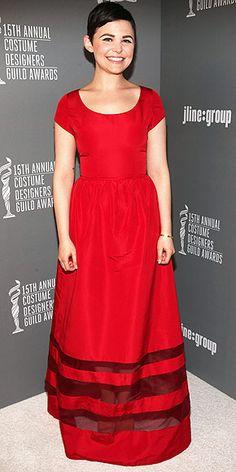 Modest short sleeve red satin gown. ginnifer goodwin in misha nonoo