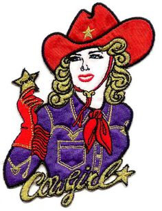 "Cowgirl - Sheriff - Western - Red Hat - Iron On Applique Patch - 3 5/8""W (9.2cm)"