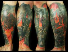 Terminator sleeve by Alonzo Villa- Bearcat Tattoo Gallery- Little Italy- San Diego, CA