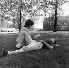 """Ball State Teachers College students relax on lawn"" - To learn more, visit the Ball State University Campus Photographs in the Ball State University Digital Media Repository. Copyright 2012, Ball State University. All rights reserved."