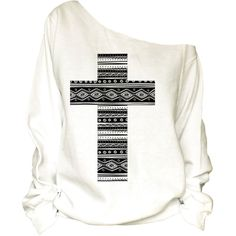 Cross Print Oversized Off Shoulder Raw Edge Sweatshirt (19) ($32) ❤ liked on Polyvore featuring tops, hoodies, sweatshirts, shirts, silver, women's clothing, white off shoulder top, white eyelet top, print sweatshirt and sweat shirts