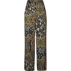 f3fad40cb70195 Green paisley print soft high rise trousers £35.00 Broek Pantalon