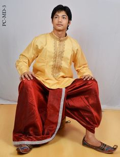 "Indian Men's Dhoti Kurta Dress Set Traditional Party Wear Clothing 40"" MD-3"
