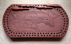 Cribbage board - Lummi Nation carver 'King LaClair'; Pacific Northwest Style; First Nations style