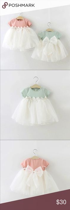Baby Girl Dress Available in pink or mint Boutique Dresses Formal