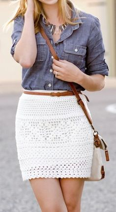 Crochet Skirts Chambray shirt with crochet lace skirt Crochet Skirts, Crochet Clothes, Crochet Lace, Crochet Skirt Outfit, Freeform Crochet, Chrochet, Summer Outfits, Casual Outfits, Summer Clothes